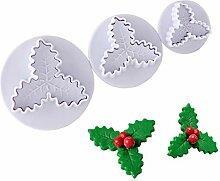 3 Stück Weihnachten Holly DIY 3D Cup Kuchen