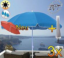 3 Stück XXL Sonnenschirm inkl. Schirmhülle gross, 180 cm / 1,80 m EDEL mit Volant, Sonnendach Schirm Strandschirm r8 eckig, marine-blau Rand weiß, 8-tlg. Strandschirm,Sonnendach /Sonnenschutz Dach, XXL-Klappschirm, Gartenschirm extrem wetterfest, klappbar, tragbar, seewasserfest, hochwertig robust stabil, Sonnenschutz, stabiler Schirm Klappschirm, Strandschirme, Sonnenschirme, Sonnenschirm-Tische, Regenschirm Picknickschirme