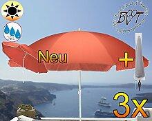 3 Stück XXL Sonnenschirm inkl. Schirmhülle gross, 180 cm / 1,80 m EDEL-rot lachsrot orange mit Volant, 8-teilig / 8-eckig massiv robust, Strandschirm,Strandschirm,Sonnendach /Sonnenschutz Dach, XXL-Klappschirm, Gartenschirm extrem wetterfest, klappbar, tragbar, seewasserfest, hochwertig robust stabil, Sonnenschutz, stabiler Schirm Klappschirm, rot lachsrot orange, Strandschirme, Sonnenschirme, Sonnenschirm-Tische, Regenschirm Picknickschirme