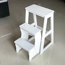 3-Stufen-Hocker Massivholz 3-Tier-Leiter Home Regal Multifunktions-Haushalt Klappleiter Holz Blumenständer (Farbe : Weiß)