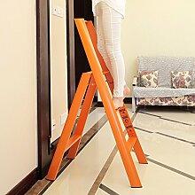 3-Stufen-Leiter Hocker drei Stufen rutschfest faltbar Haushalt Pavillon Pedale Fischgräten Dual-Verwendung Indoor (Farbe : Orange)