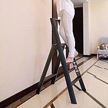 3-Stufen-Leiter Hocker drei Stufen rutschfest faltbar Haushalt Pavillon Pedale Fischgräten Dual-Verwendung Indoor (Farbe : Schwarz)
