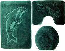 3- teilig Badgarnitur 100x60cm dunkelgrün Badset