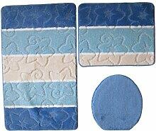 3- teilig Badgarnitur blau gestreift 100 x 60