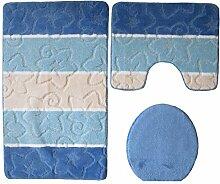 3- teilig Badgarnitur blau gestreift 80 x 50cm