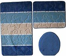 3- teilig Badgarnitur dunkelblau gestreift 80 x
