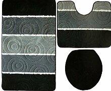 3- teilig Badgarnitur schwarz grau 100 x 60 Badset