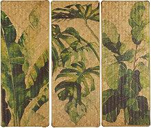 3-teilige Bambusdeko, bedruckt mit grünem