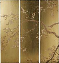 3-teilige Wanddeko, goldfarben mit Blumendruck