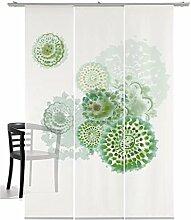 3-teiliger Flächen-Schiebevorhang Emotion Textiles Batikblume flaschegrün 180 x 260 cm