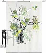 3-teiliger Flächen-Schiebevorhang Emotion Textiles Eule grün 180 x 260 cm