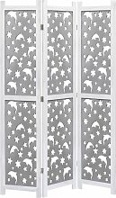 3-teiliger Raumteiler Grau 105 x 165 cm Massivholz