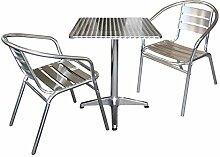 3-teiliges Aluminium Balkonmöbel Bistromöbel Set Klapptisch Gartentisch 60x60x70cm + 2x Gartenstuhl Stapelstuhl Terrassenmöbel Gartenmöbel