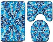 3-teiliges Badezimmerteppich-Set mit rutschfestem