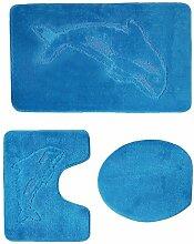 3 teiliges Badgarnitur Set Delfin Muster mit