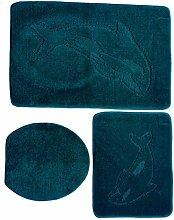3 teiliges Badgarnitur Set Delfin Muster ohne