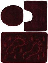 3 teiliges Badgarnitur Set Füße Muster mit