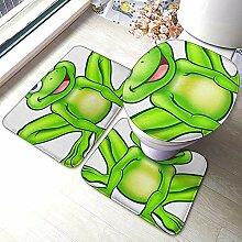 3-teiliges Badteppich-Set, Toilettenmatte (Frosch