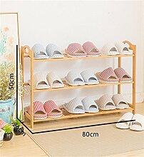 3 Tier Schuh Rack Massivholz Einfache Lagerung Schrank Möbel Kreative Einfachheit Bambus Organizer Regale ( größe : 80cm )