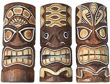 3 Tiki Masken 30cm im Hawaii Style 3er Set