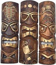 3 Tiki Masken 50cm im Hawaii Style 3er Set