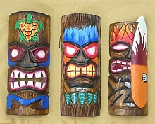 3 Tiki Wandmasken 30cm im Hawaii Style 3er Set