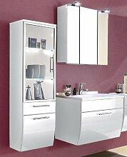 3-tlg Badezimmer in Hochglanz weiss Badmöbel Softclose LED Spiegelschrank