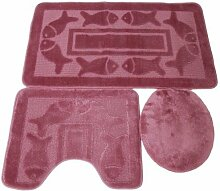 3 tlg. Badgarnitur Set 50x80 cm Badematte + 50x40 cm WC Vorleger Bad Set Fisch Rosa