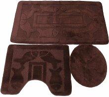 3 tlg. Badgarnitur Set 50x80 cm Badematte + 50x40 cm WC Vorleger Bad Set Fisch Braun