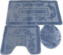 3 tlg. Badgarnitur Set 50x80 cm Badematte + 50x40 cm WC Vorleger Bad Set Fisch Blau