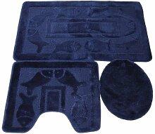 3 tlg. Badgarnitur Set 50x80 cm Badematte + 50x40 cm WC Vorleger Bad Set Fisch Marine