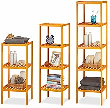 3 tlg. Badregal Set Bambus, 3, 4 und 5 Ablagen, Standregal, Bambusregal, Küchenregal, Regal, Badmöbel, Holzregal, orange