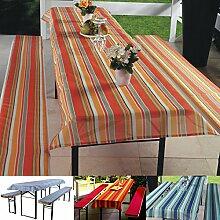 3-tlg Bierzeltgarnitur Auflagen Set inkl. Tischdecke für 50x220cm Biertische | orange gestreif