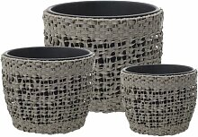 3-tlg. Blumenfass-Set Carina aus Rattan World