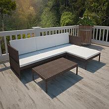 3-Tlg. Garten-Lounge-Set Mit Auflagen Poly Rattan