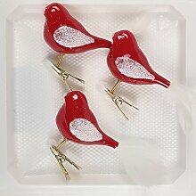 3 TLG. Glas Vogel Set in Hochglanz Modern Rot
