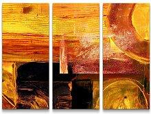 3-tlg.Leinwandbilder-SetAbstraktes warmes Bild