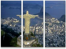 3-tlg.Leinwandbilder-SetChristus Statue in Rio