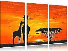 "3-tlg. Leinwandbilder-Set ""Giraffen im"