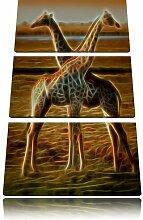"""3-tlg. Leinwandbilder-Set """"Giraffen Liebe New"""