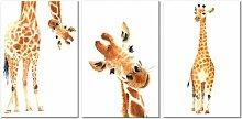3-tlg. Leinwandbilder-Set Lustige Giraffen