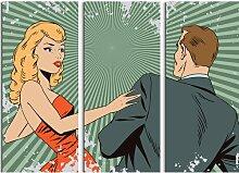 3-tlg. Leinwandbilder-Set Pop Art Mann und Frau