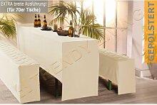 3-tlg. Premium Bierbank Hussen Set | 70x220cm | gepolstert | creme | Bierzeltgarnitur Biertischgarnitur