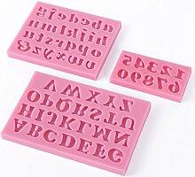 3-tlg. Silikon Zahlen and Buchstaben Kuchen