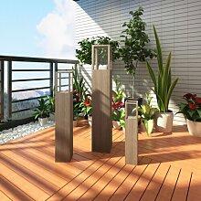 3-tlg. Windlicht-Set aus MDF/Glas Home Etc