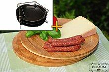 3 TRADITIONELL runde Pizzableche + 4 stufiger Edelstahl-Pizzablechhalter, Blechboden gelocht, ca. 33 cm x 1 mm & 3x Schneidebrett - massive, hochwertige ca. 12 mm starke Picknick Grill-Holzbretter mit Rillung natur, dunkles Bambus, Maße rund je ca. 25 cm Durchmesser als Bruschetta-Servierbrett, Brotzeitbrett, Bayerisches Brotzeitbrettl, NEU Massive Schneidebretter, Frühstücksbretter,