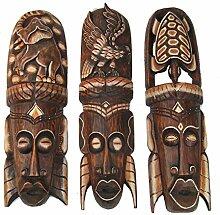 3 Wandmasken 50cm im Afrika Design tolle Wandmaske