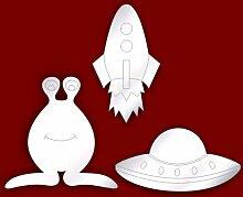 3 Wandspiegel, Thema Weltraum für Kinderzimmer, geätz