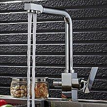 3-Weg-Wasserfilter Küchenarmatur Wasserhahn 360°Schwenkbar Messing Chrom Küche Armaturen Zwei Hebel Mischbatterie Spüle Spültischarmatur 2 Ausgänge Für Osmoseanlagen Leitungswasser Trinkwasser
