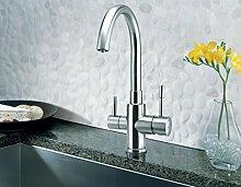 3-Wege-Armatur PALMIRA INOX für kaltes, heißes und gefiltertes Wasser. Eine elegante und stillvolle Ergänzung für Ihren Wasserfilter. Made in EU! Küchenarmatur , Spültischarmatur , Mischbatterie
